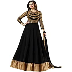 Arawins Women's Party Wear Black Georgette Embroidred Free Size Anarkali Style semi stitched Salwar Kameez Suit Dress Material With Dupatta