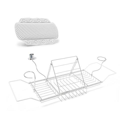 2 teiliges Badewannen Set, Badewannenkissen mit Saugnäpfen, Badewannentablett Metall mit Buchstütze und Glashalter, zum Ausziehen