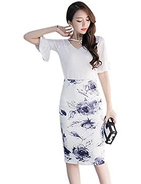 XueXian(TM) Mujer Falda Estampado de Flores de Algodón de Blanco