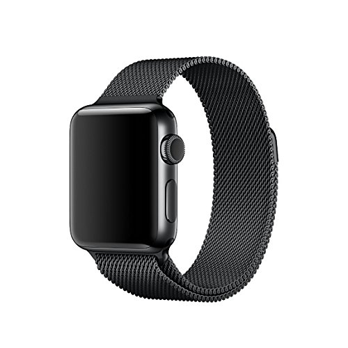 Apple Watch 42mm Milanese Loop Strap, NXET® Strong Magnetic Stainless Steel Bracelet Closure Clasp Band with Unique Magnet Lock for Apple Watch/Sport/Edition Series 1/Series 2 (42mm Case, Space Black) Test