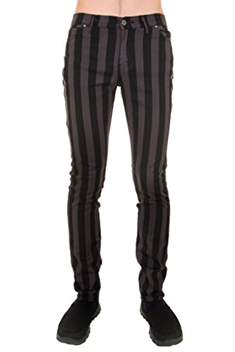 Run & Fly Mens Indie Vintage Retro 60s 70s MOD Black Grey Striped Stretch Skinny Jeans