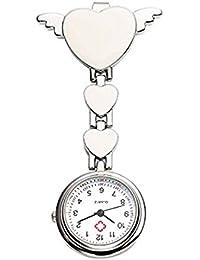 TOOGOO(R) Womens Girls Heart Angle Wing Nurse Fob Clip On Brooch Hanging Pocket Pink
