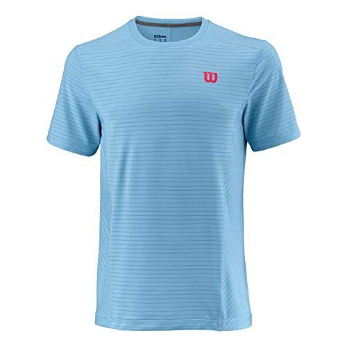WILSON Herren UW II Linear Crew Men T-Shirts, hellblau, M - Crew-tennis Shirt