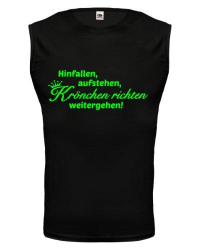 buXsbaum® Tank Top Hinfallen, aufstehen, Krönchen richten, weitergehen Black-Neongreen