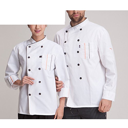 Zhhlaixing Fashion Unisex Work Clothes Modern Long Sleeve Chef Uniform white