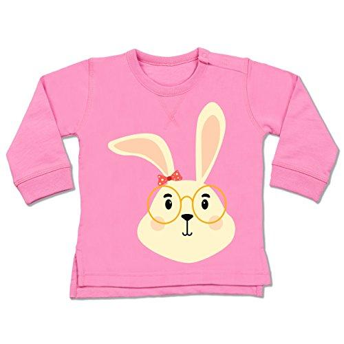 Tiermotive Baby - Süßer Hase mit Brille und Band - 6-12 Monate - Pink - BZ31 - Baby Pullover