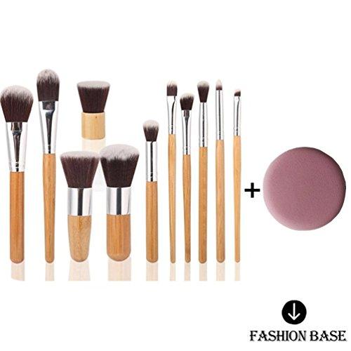 Fashion Base® Cadeau pour SES nouveaux 11 pcs Pro carbonisé Poignée en bambou Brosse de Maquillage Pinceaux Cosmétique Poudre Tool Kit Set avec gratuit Mode Base Puff