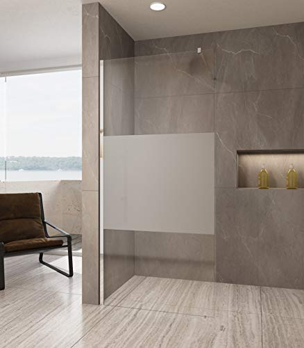 100cm Duschwand Duschabtrennung satiniert Walk-In Dusche aus Echtglas 10mm ESG-Sicherheitsglas Klarglas inkl. Nanobeschichtung
