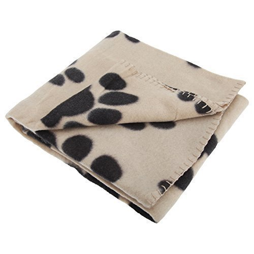 Hundedecke / Haustierdecke / Fleece-Decke mit Pfoten-Muster (100 x 70 cm) (Beige)