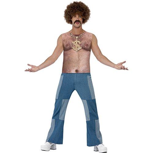 Brusthaar Toupet Oberteil Brusthaartoupet Shirt L 52/54 Top mit Brusthaaren Aufdruck 70er Jahre Hemd Brust mit Haaren Hippie Mottoparty Kostüm Zubehör Karneval Kostüme (Zubehör Kostüm 70's)