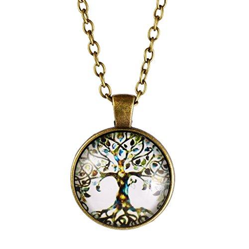 MagiDeal Weinlese Frauen Baum Des Lebens Anhänger Kette Halskette Schmuck Antike Bronze (Schmuck Antik)