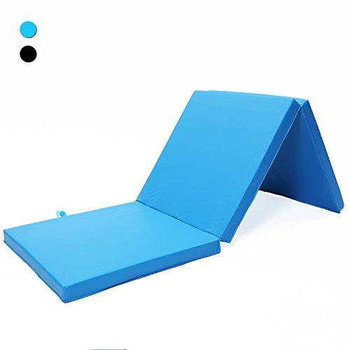 ISE Colchoneta de espuma 180cm, triple plegable, para gimnasia, fitness, yoga, aeróbics & ejercicio para casa e interiores Azul