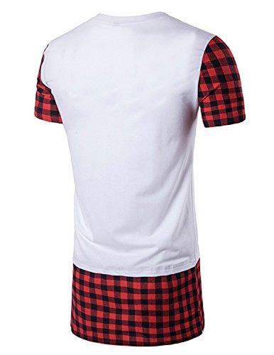 YCHENG Herren T-Shirt Longshirt Oversize Hip Hop Kariert Karohemd Rundhals Slim Fit Weiß