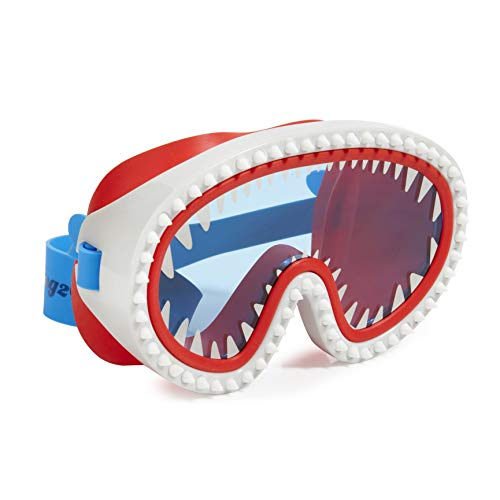 Bling 2O Shark Attack Brille für Kinder, Anti-Beschlag, kein Auslaufen, Rutschfest und UV-Schutz, Knabberrot Gläser, lustiges Wasser-Zubehör inklusive Hartschalentasche