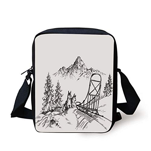 LULABE Alaskan Malamute,Mountain Landscape in Winter Sledding Dogs Pine Trees Wilderness Art Decorative,Black and White Print Kids Crossbody Messenger Bag Purse -