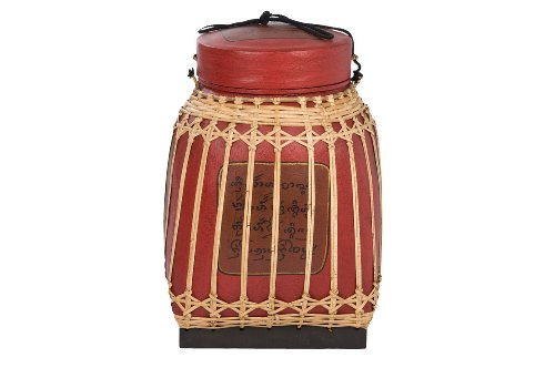 Traditional Bamboo Basket Red 64cm