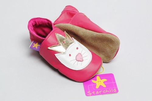 Princess Paws fuchsia chaussures en cuir souple (petit 0-6 mois EU 18 UK 2)