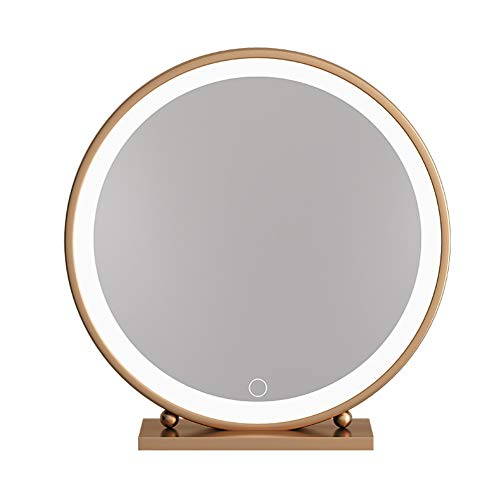 Espejo de maquillaje de escritorio Espejo de maquillaje con pantalla táctil con luz LED Espejo de hierro...