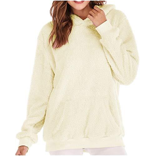 Discount Boutique Felpa da Donna Pullover Giacca da Donna in Pile per Esterno Moda Casual Manica Lunga Mezza Cerniera Top in Maglione Caldo Sciolto Tinta Unit