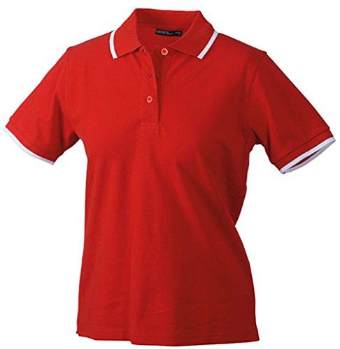 JAMES & NICHOLSON Hochwertiges Piqué-Polohemd mit Kontraststreifen Red/White