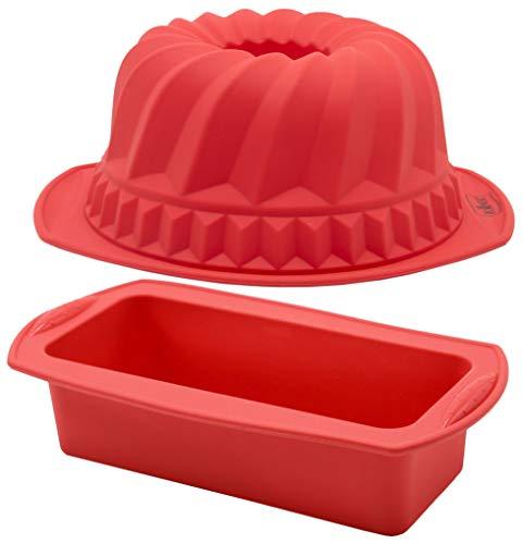 ZOLLNER24 Juego de 2 moldes de repostería de silicona, para tartas y bizcochos