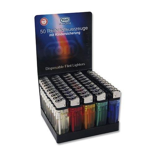 Feuerzeug Einweg aus Kunststoff in Unifarben transparent 50 Stück