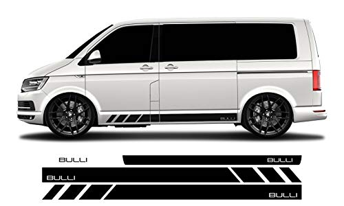 WRAP-SKIN Seitenstreifen Set Bulli passend für VW T4 T5 T6 Seitenaufkleber Aufkleber WS-03-08-10005 070M Schwarz Matt