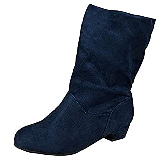 LILICAT Womens Ladies Flat Faux Suede Slouch Low Heel Wedge Ankle Boots Shoes Women Suede Square Heel Round Toe Middle Tube Pure Color Slip-On Boots