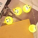 Prevently Ball Smiley-Gesicht Lichterkette Emoji Smiley Glühlampen String Lichter Batteriebetrieben für Weihnachtsbeleuchtung, Balkon, Außen Deko, Innen 1.2m10led 2.5m20led (1.2m10led)