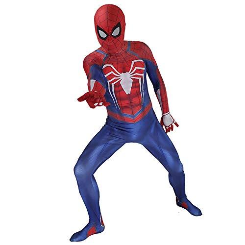DFRTYE Erwachsene Kinder Spider-Man Kostüm Iron Man Halloween Cosplay Superheld Verkleidung Kostüm Mask 3D Print Spandex Spiderman Body,Adult-M (Spider-kostüm Kleinkinder Für)