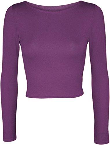 Janisramone donna manica lunga girocollo crop top t shirt Viola