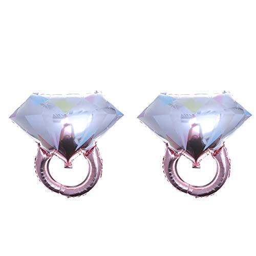 Toyvian 2 STÜCKE Diamant Ring Ballons Ring Form Folienballons Romantische Hochzeit Brautdusche Jubiläum Verlobungsfeier Dekoration-Große Größe (Rose Gold) (Gold Füllen Ehering)