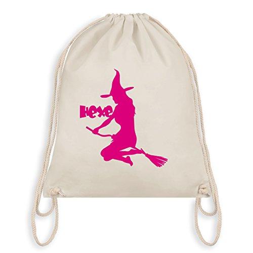 Halloween - Hexe auf dem Besen - Turnbeutel I Gym Bag Naturweiß