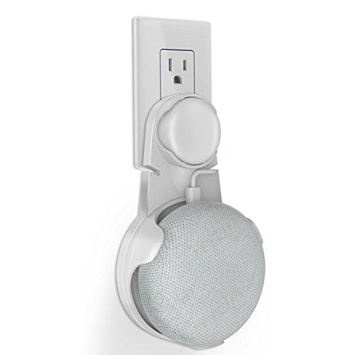 DigitCont Socket Wandhalterung Standhalterung für Google AI-Powered Home Mini Voice Assistant Kompakttasche Halterung für Smart Home Lautsprecher, Küche, Bad & Schlafzimmer (Weiß)