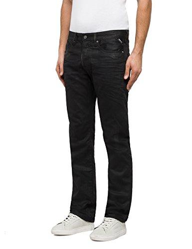 Replay Herren Straight Jeans Waitom Schwarz (Black 98)