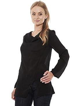 Siste's 0262T53 blusa donna maglia seta tinta unita manica lunga taglio morbido