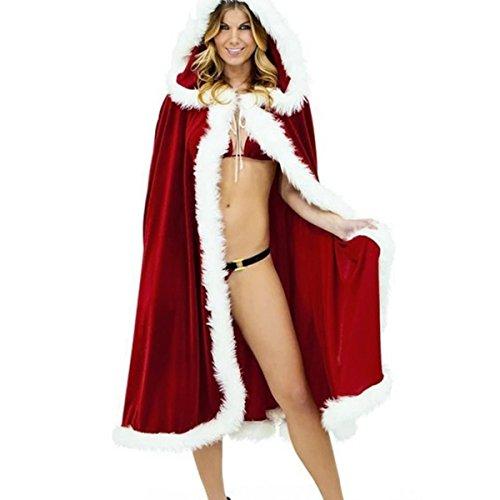 Deluxe Kostüm Claus Mrs - CA Mode Damen Weihnachts-Kostüm, Umhang, Cappa-Umhang - Rot - Länge Ohne Kapuzenpullover : 109 cm