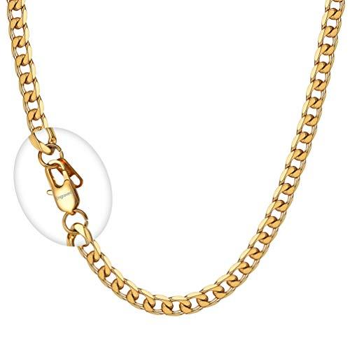 PROSTEEL Herren Collier Kette 18k vergoldet 66cm/5mm Panzerkette Halskette mit personalisiert Verschluss trendig Männer Jungen Hip Hop Rapper Gliederkette Schmuck (Vergoldete Anhänger Für Männer)