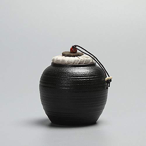 GBCJ Accesorios para Juegos de té Tanque de Almacenamiento de gres de cerámica Negra Tarro Sellado...