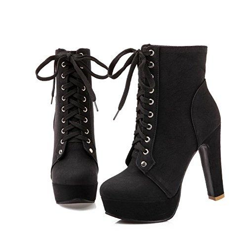 BalaMasa da donna con tacco alto caviglia alta Solid PU Stivali da neve Black