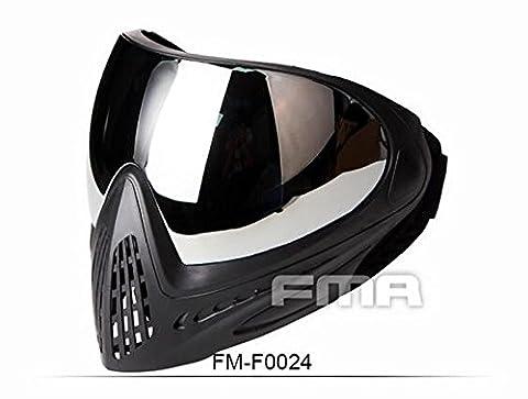 WorldShopping4U Tactical Airsoft Anti-Fog-Goggle Paintball FMA Full Face mit Single-Layer-Maske für eine optimale Outdoor-Sport (Schwarz, Spiegel)