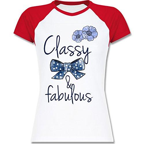 Statement Shirts - Classy and fabulous - zweifarbiges Baseballshirt / Raglan T-Shirt für Damen Weiß/Rot