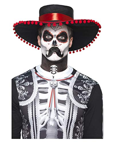 Horror-Shop 12-teiliges Day of The Dead Sugar Skull Senor Bones Make Up Kit für Halloween
