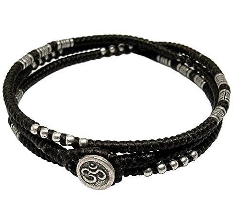 LUN NA Asiatique 100% Fait Main Wrap Bracelet Argent 925 Perles de Plumes Noir Ficelle de Cire Bouton OHM Symbole