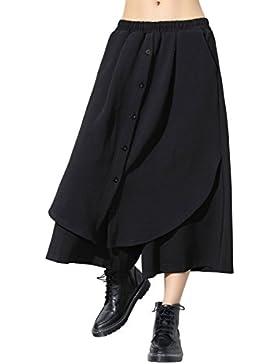ELLAZHU Women Fashion Wide Leg Elastic Waist Patchwork Black Long Pants GY1460 A