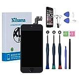 Xlhama Nueva Pantalla LCD táctil Compatible con iPhone 5S Negro con botón de Inicio, cámara Frontal, Altavoz con Sensor de proximidad, Herramientas y Protector de Pantalla-Negro