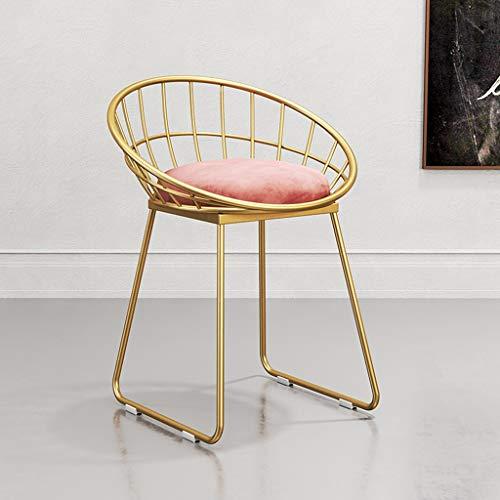 SGLI Metall esszimmerstuhl goldene Stuhl Beine licht lässig Make-up Stuhl Gold samt Kissen Schwamm hoch Rebound Kaffee Stuhl 3 Farbe optional sitzhöhe 45 cm Stuhl (Color : B)