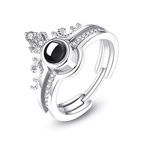 Gywttg Frauen Trauringe, 100 Sprachen Von I Love You Projection Crown Ring,White