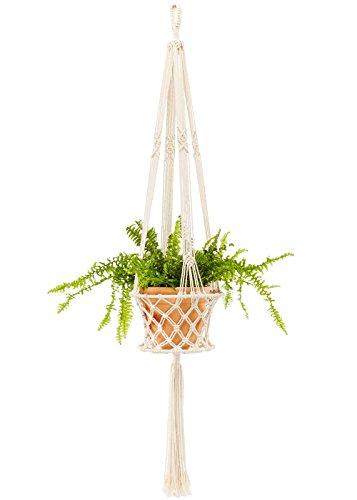Mkouo Blumenampel Pflanzenhänger Makramee Pflanzenhalter Makramee Hänger Cotton Pflanzhänger Blumenhänger Topfhänger Blumentopfhänger 48 Zoll, 4 Beine, bis zu 8 Zoll - Makramee-pot-kleiderbügel