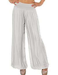 CASPAR KHS010 Damen elegante lange Seiden Chiffon Marlene Hose / Hosenrock mit hohem Stretch Bund